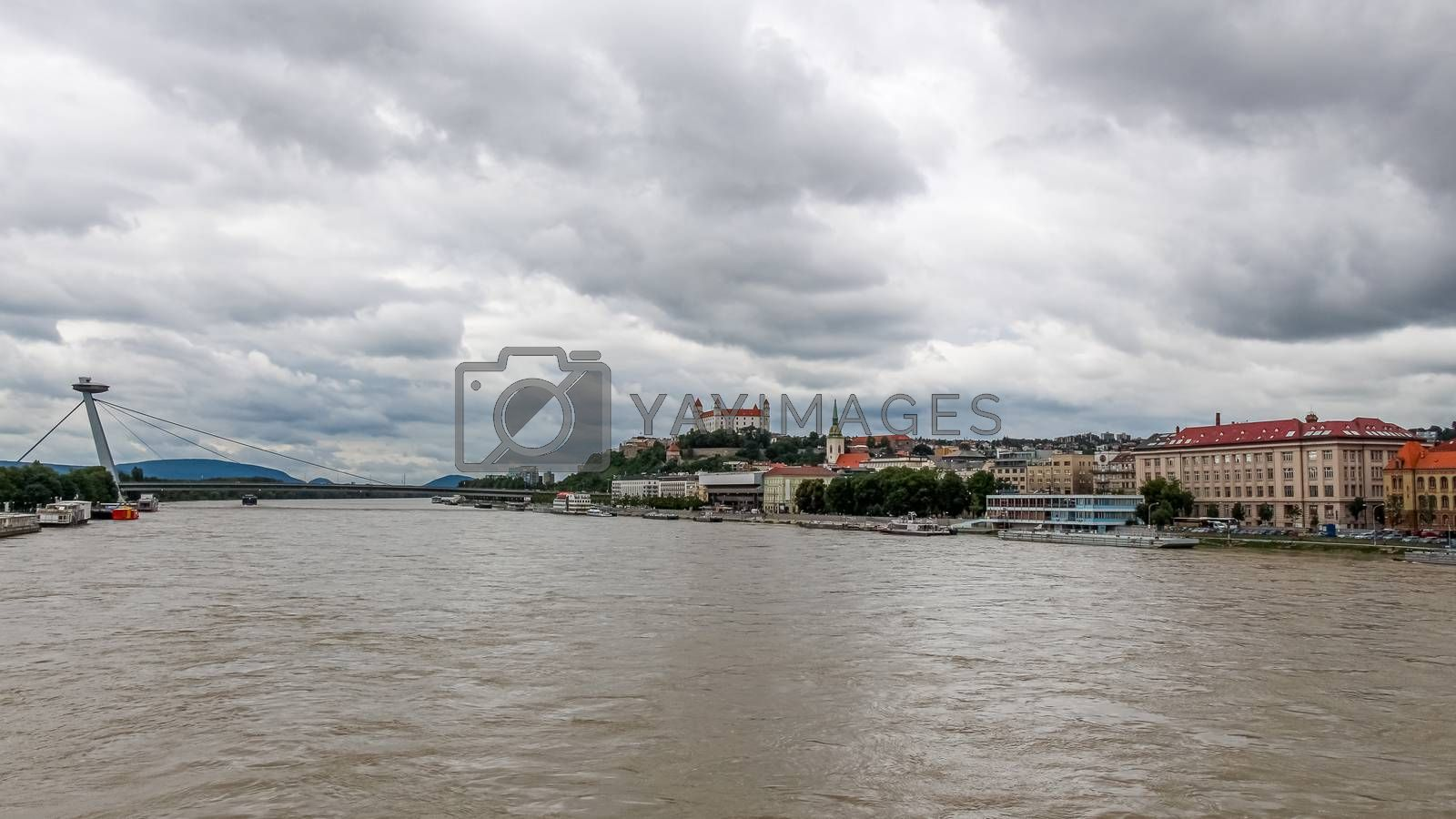 A view of the River Danube, Bratislava and Castle, from the Old Stary Most Bridge, Slovakia