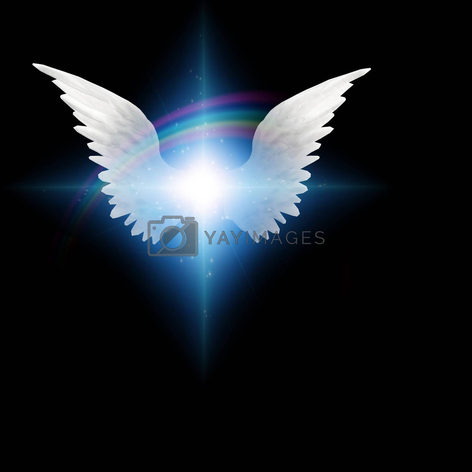Surreal digital art. Bright star with white angels wings. 3D rendering