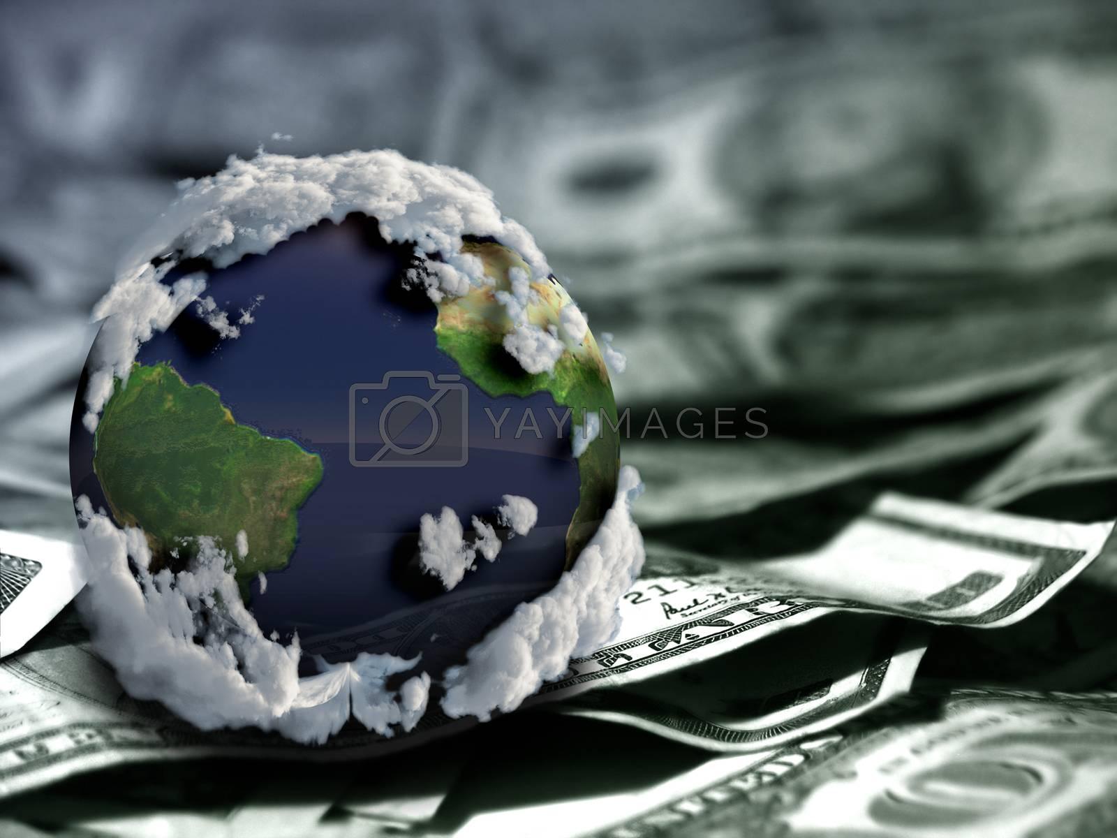 Globe on US dollars. Model of the Earth. 3D rendering