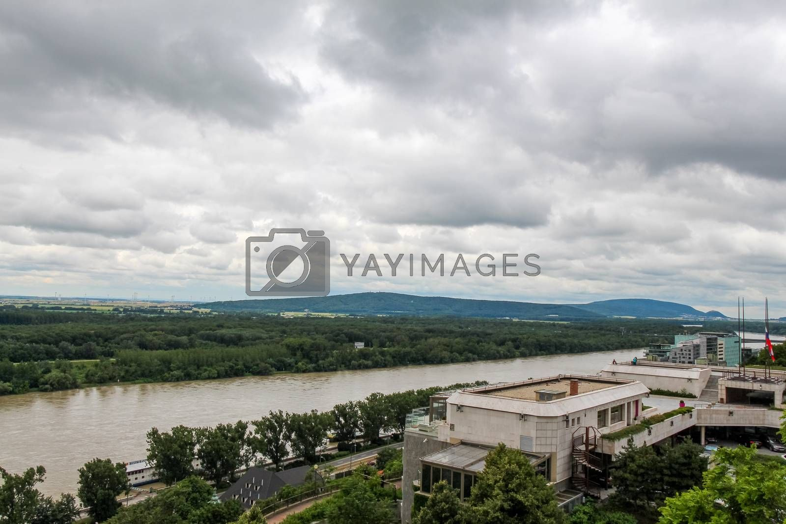 A view over the National Council of The Slovak Republic and Danube, with the Austrian Alps in the background, Bratislava Castle, Slovakia