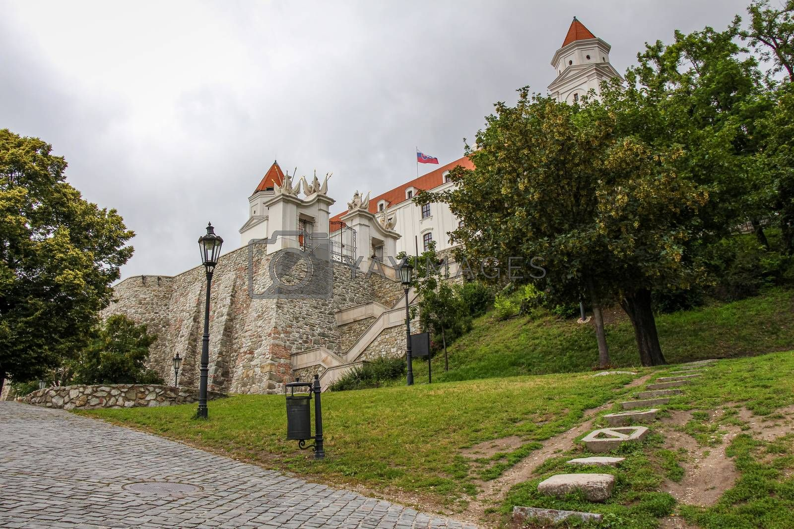 The park at the base of the steps at Bratislava Castle, Bratislava, Slovakia