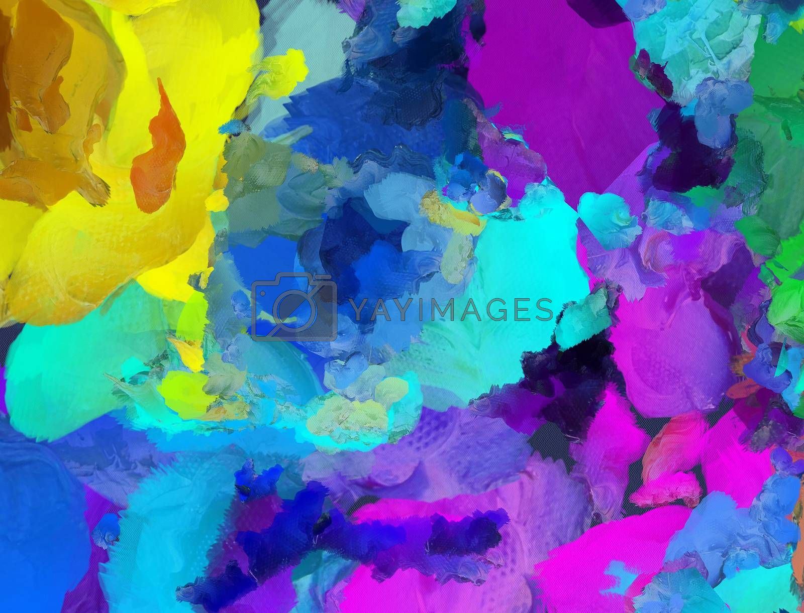 Colorful Abstract Painting. 3D rendering