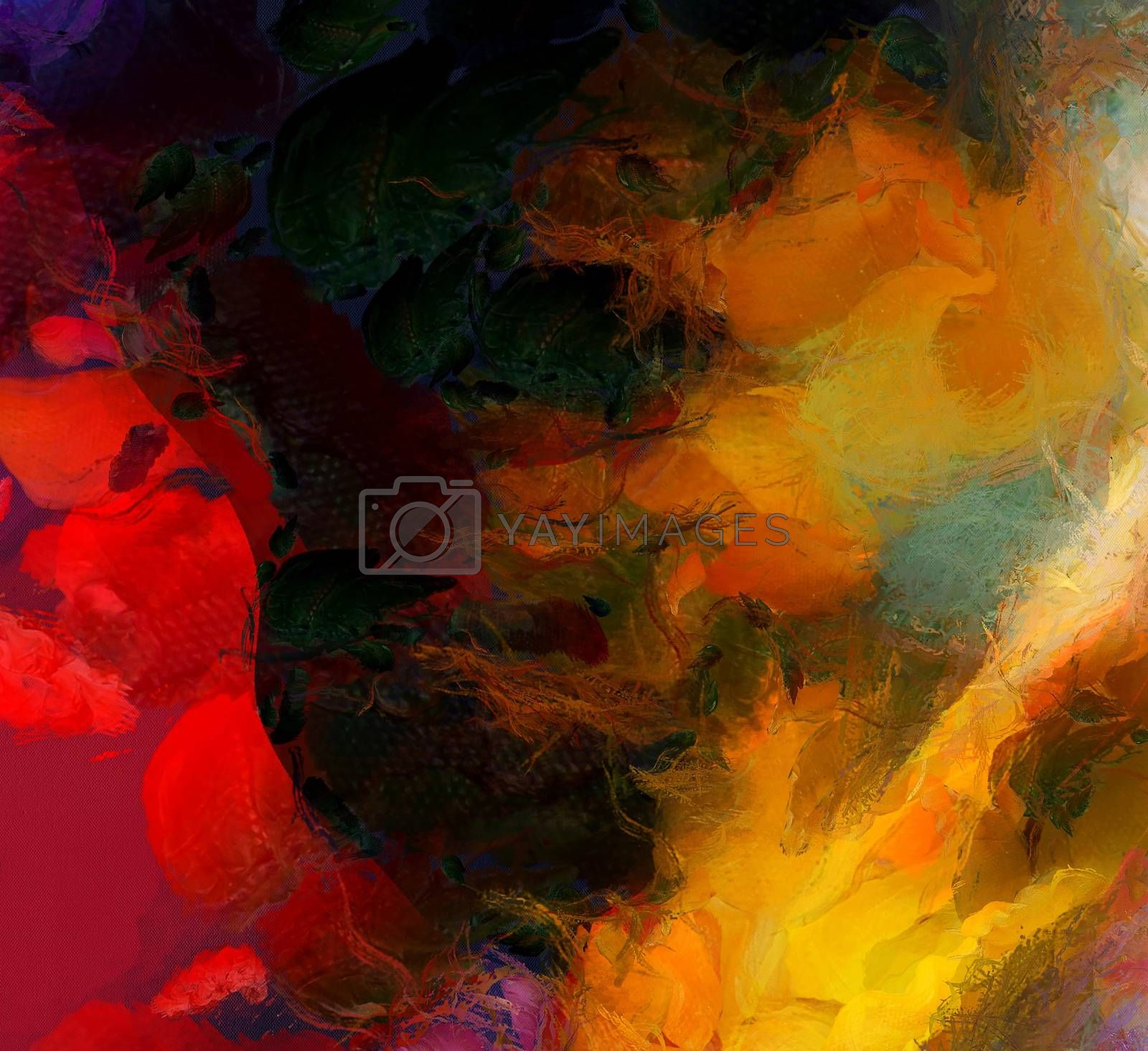 Colorful Hot Abstract Painting. 3D rendering