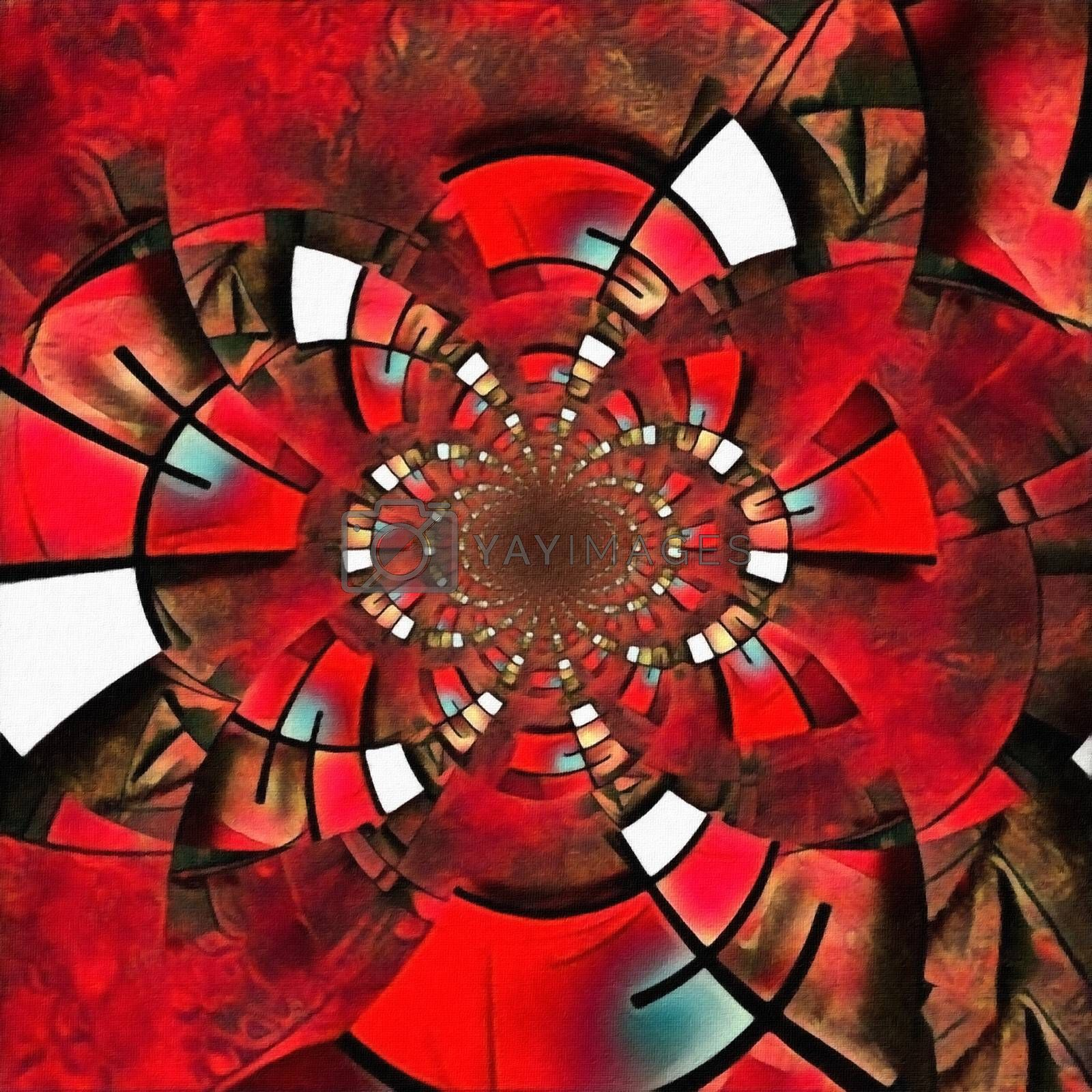 Abstract painting. Mirrored round fractal in Mondrian style. 3D rendering