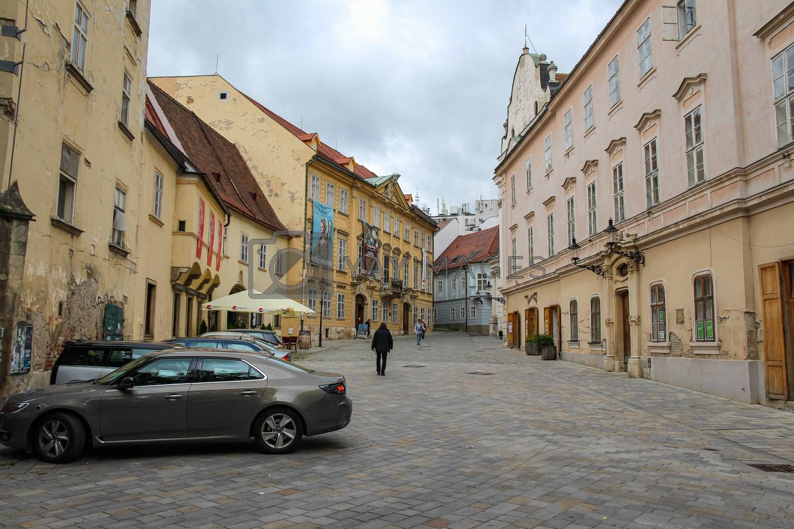 Bratislava, Slovakia - July 5th 2020: Frantiskanske namestie street at the church of the annunciation, old town Bratislava, Slovakia