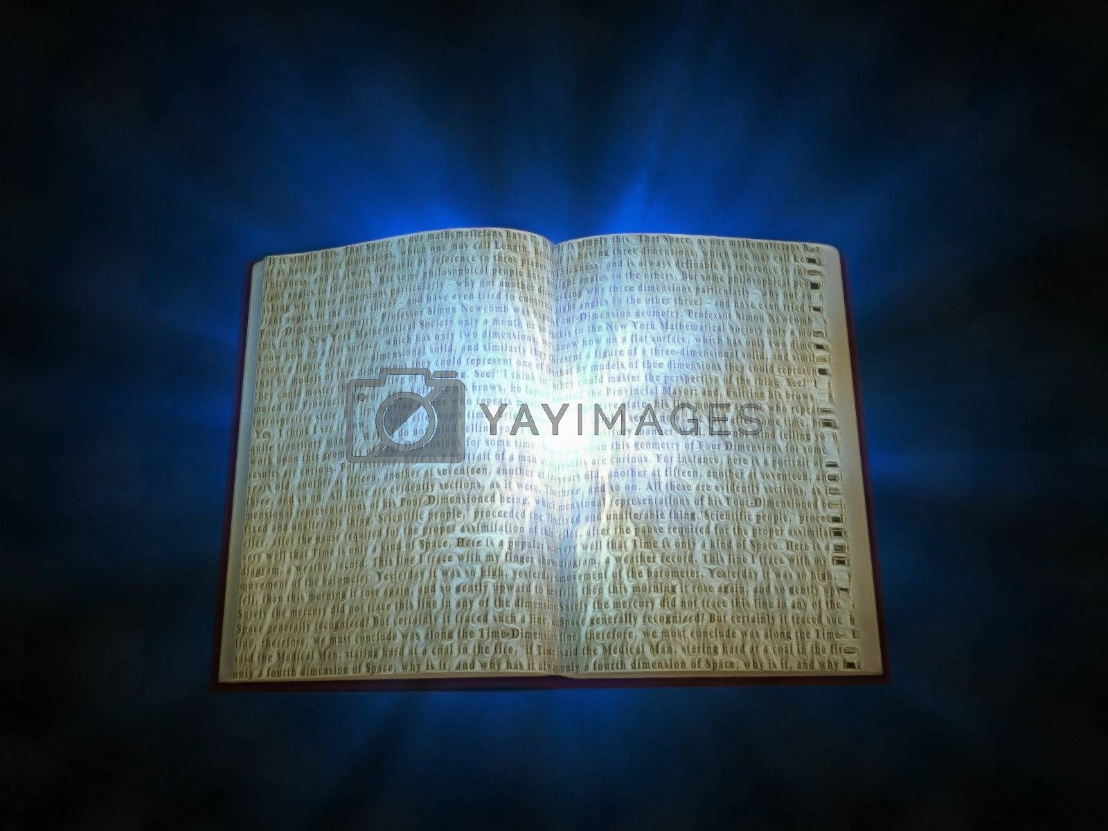 Open book with rays of light. 3D rendering