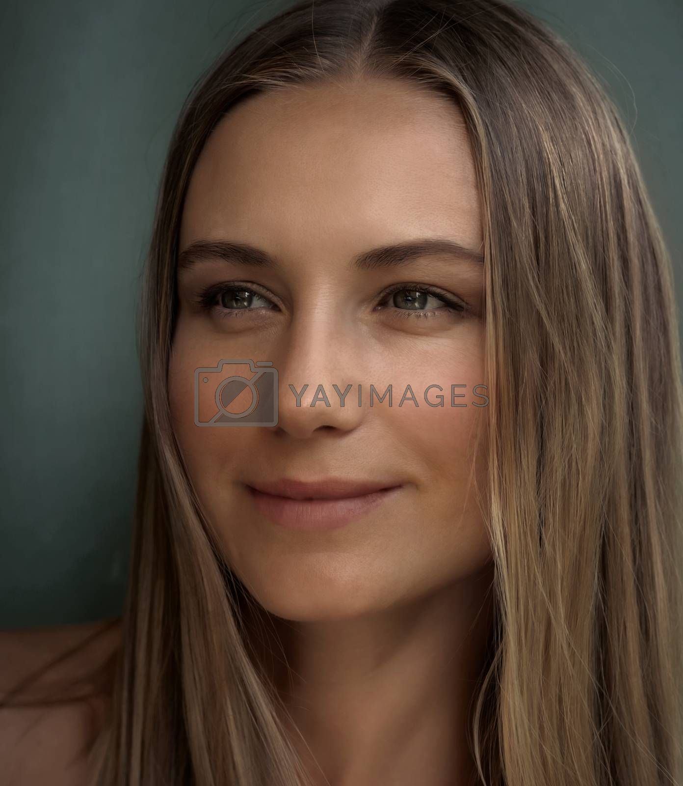 Closeup Authentic  Portrait of a Beautiful Young Woman. Genuine Beauty of an Attractive Female without Makeup and Undyed Hair. Real People.