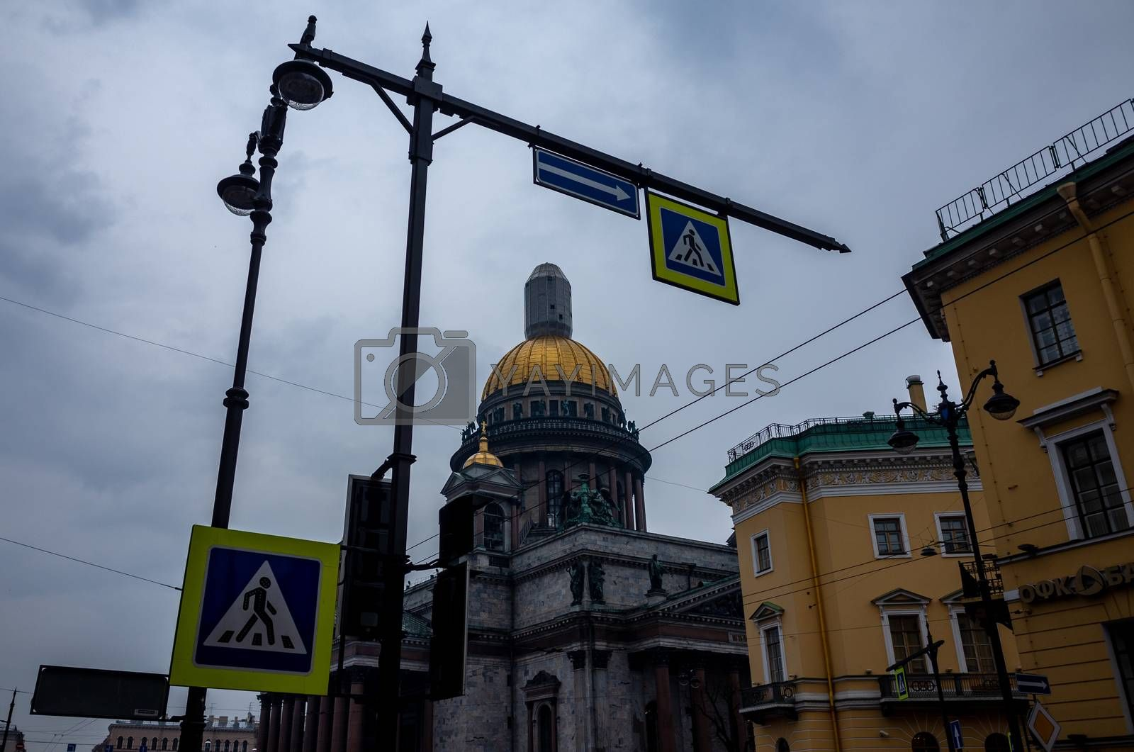 April 17, 2018. St. Petersburg, Russia. St. Isaac's Cathedral during the restoration in cloudy weather.