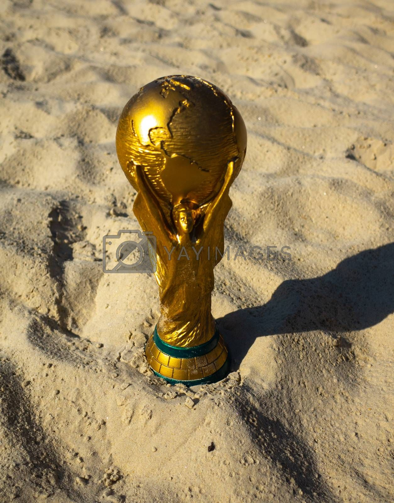 May 30, 2019. Doha, Qatar. FIFA World Cup trophy on sand. FIFA World Cup  2022  will be held in Qatar.