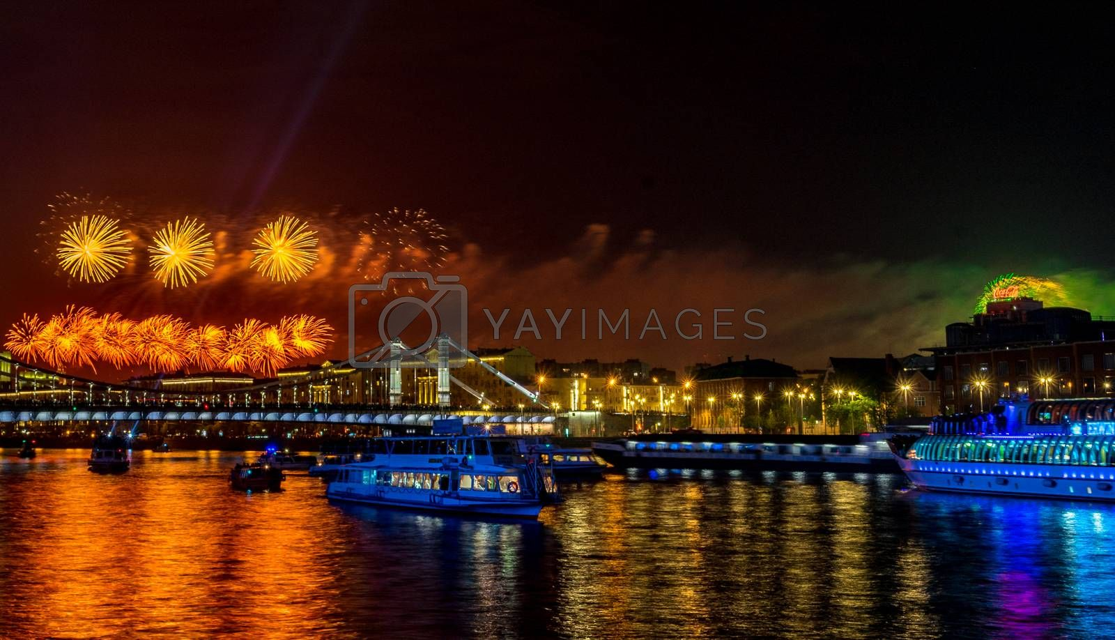 May 9, 2019 View of the festive fireworks over the Moscow River in honor of Victory Day in Moscow.