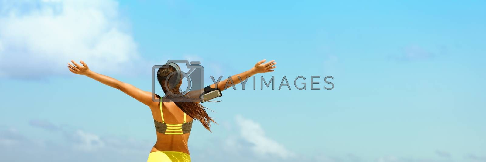 Fitness healthy lifestyle running woman banner by Maridav