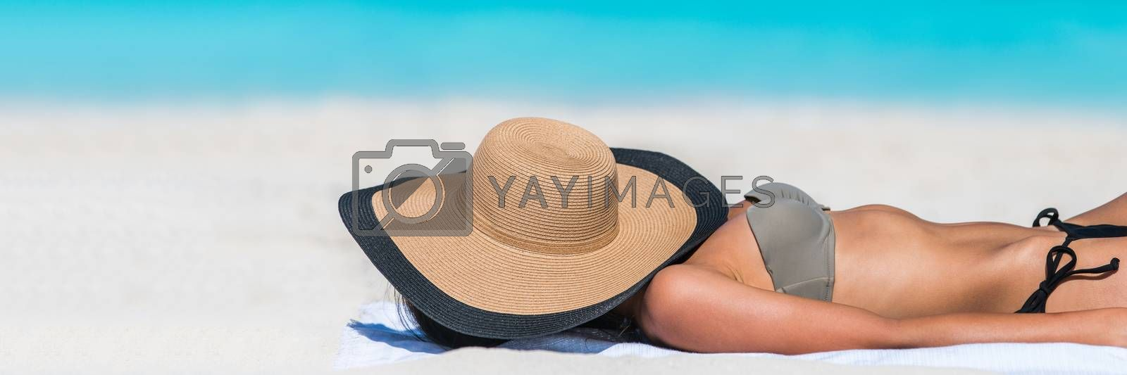 Beach relaxation woman sleeping with hat banner by Maridav
