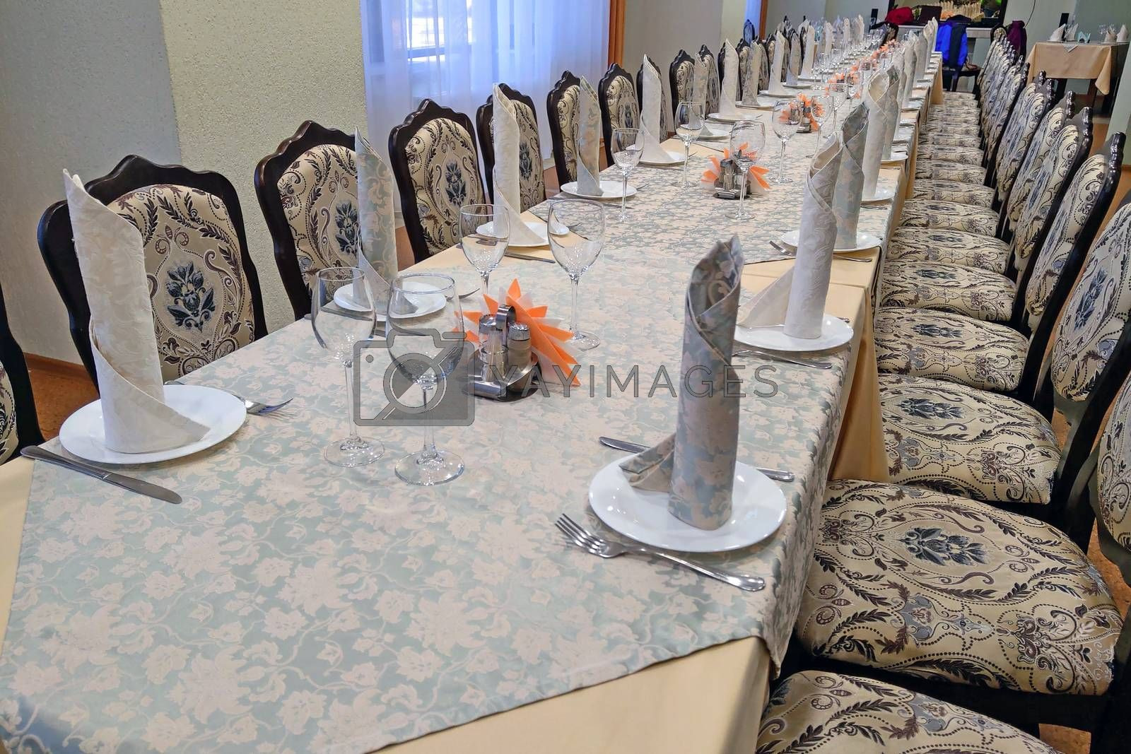 Banquet table for special events. Banqueting hall