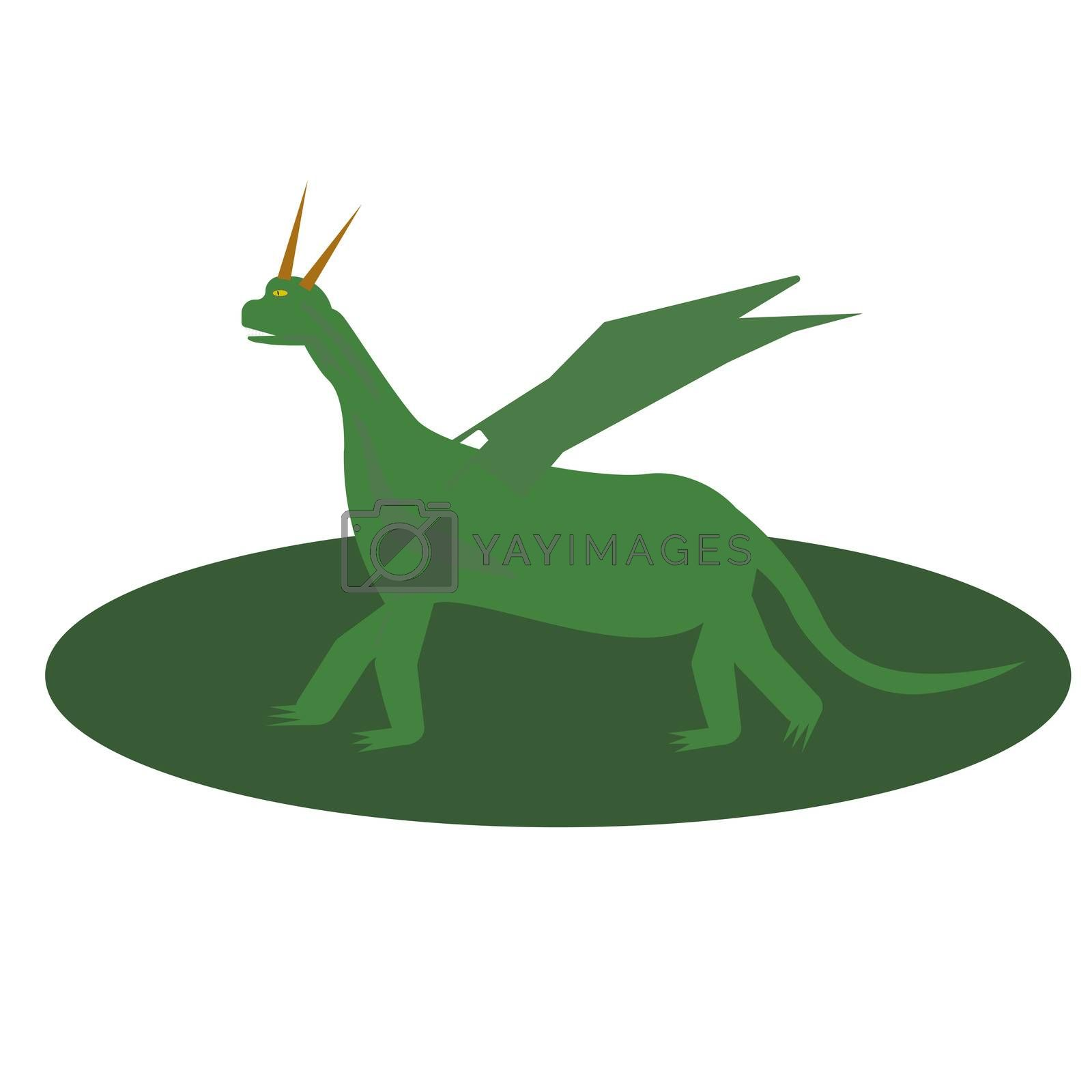 Fairytale green Dragon Flat Isolated Childish Style Simple Drawing In Bright Colors On White Background.