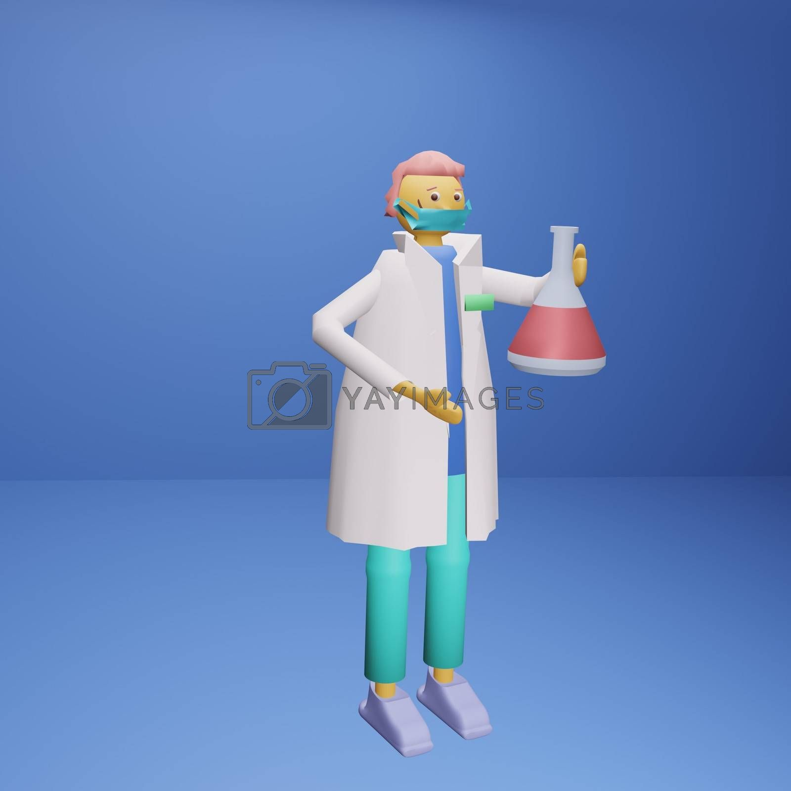 Medical scientist with a medical mask holding a glass test tube with liquid medicine or vaccine for the virus. 3D render illustration, volumetric image.