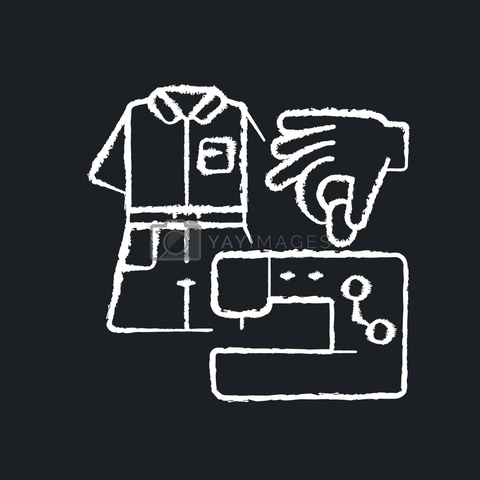 DIY fashion chalk white icon on black background. Handmade outfit. Create clothes with sewing machine. Handicraft textile and cloth. Tailor studio. Isolated vector chalkboard illustration