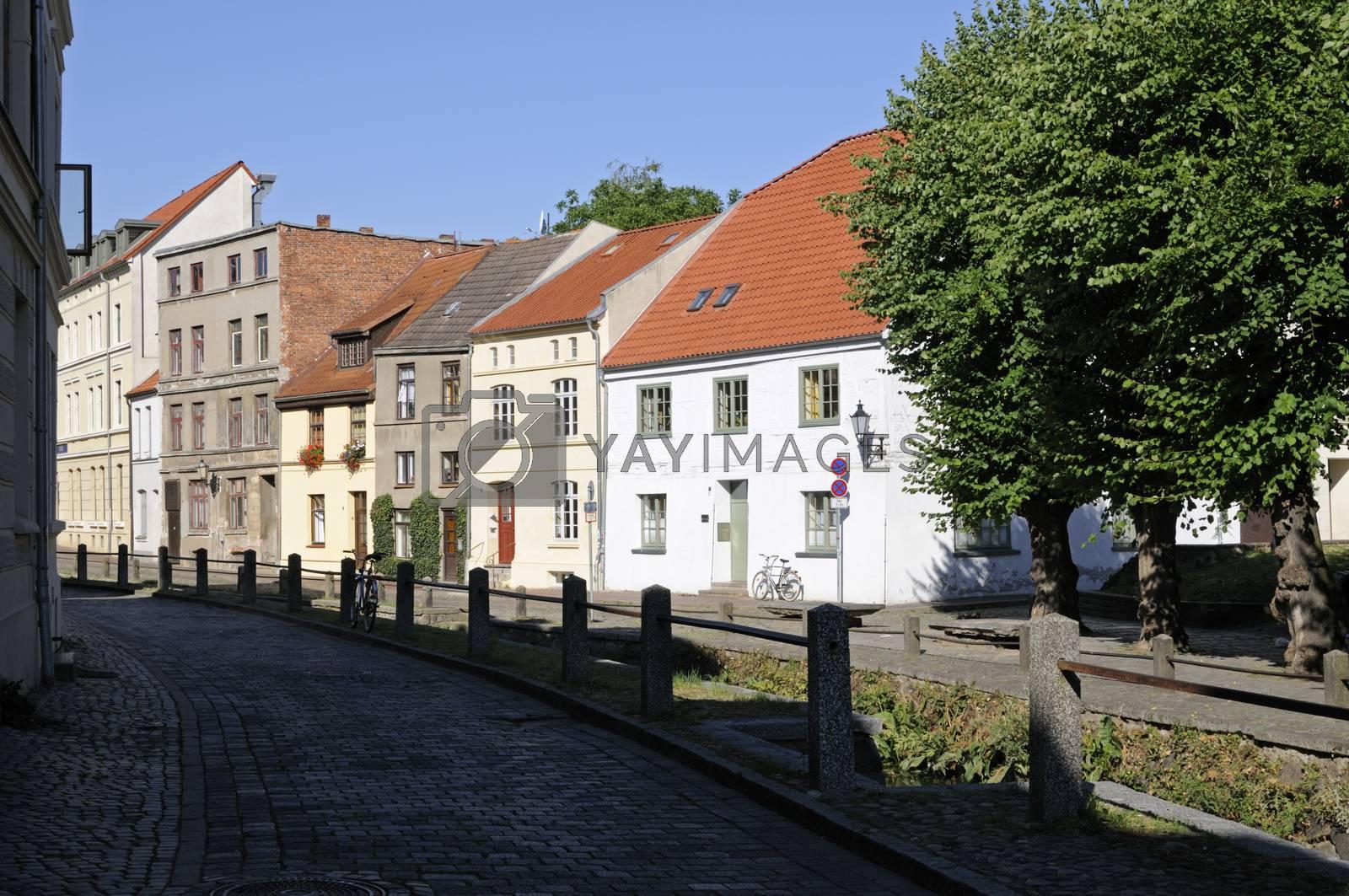 Street named Frische Grube in Wismar, Germany.