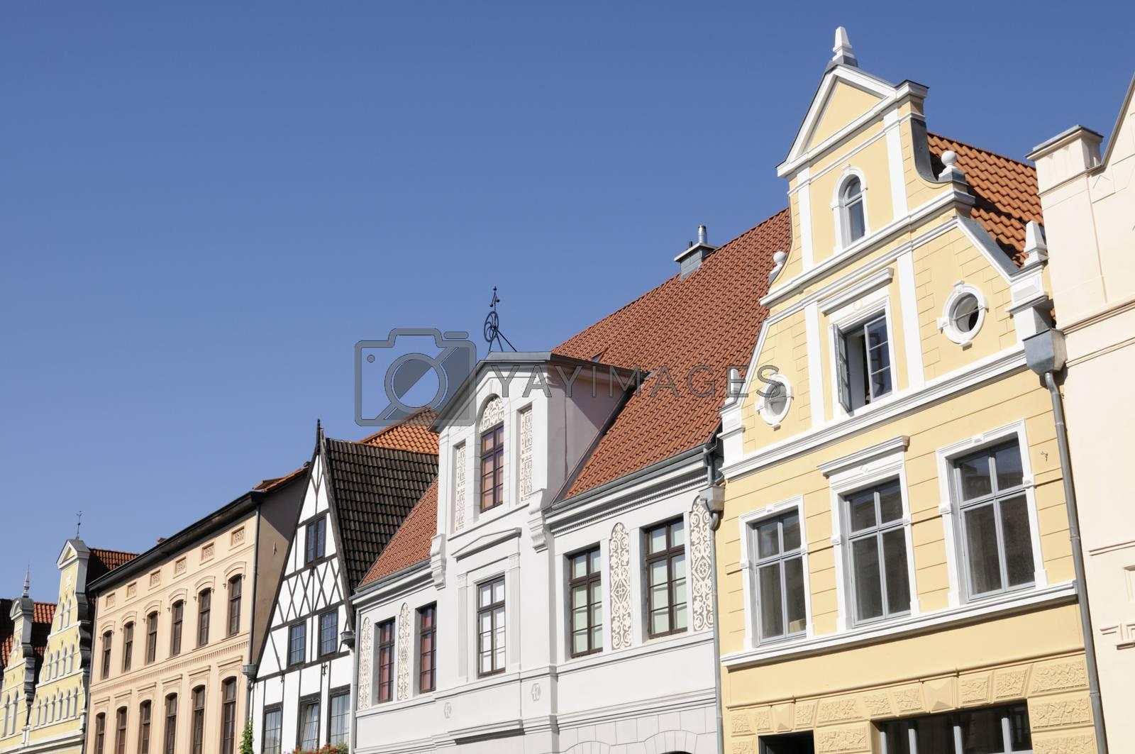 Row of houses in Wismar, Mecklenburg-Western Pomerania, Germany.