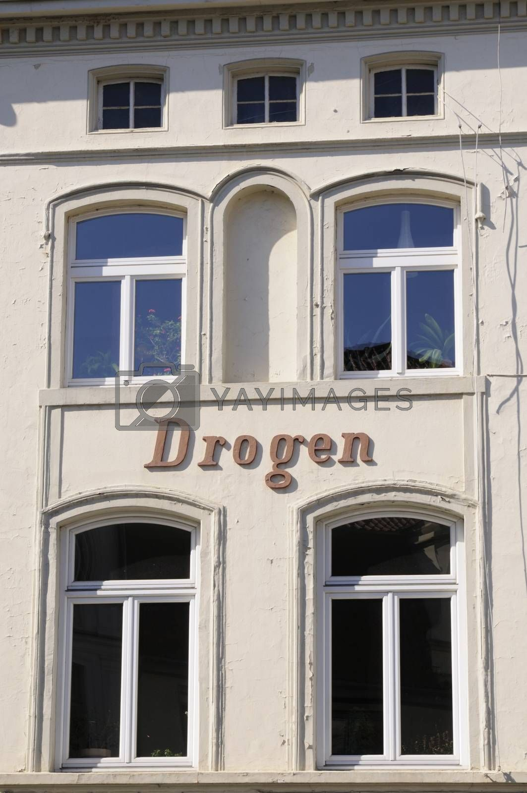 Exterior lettering on building in Wismar, Germany.