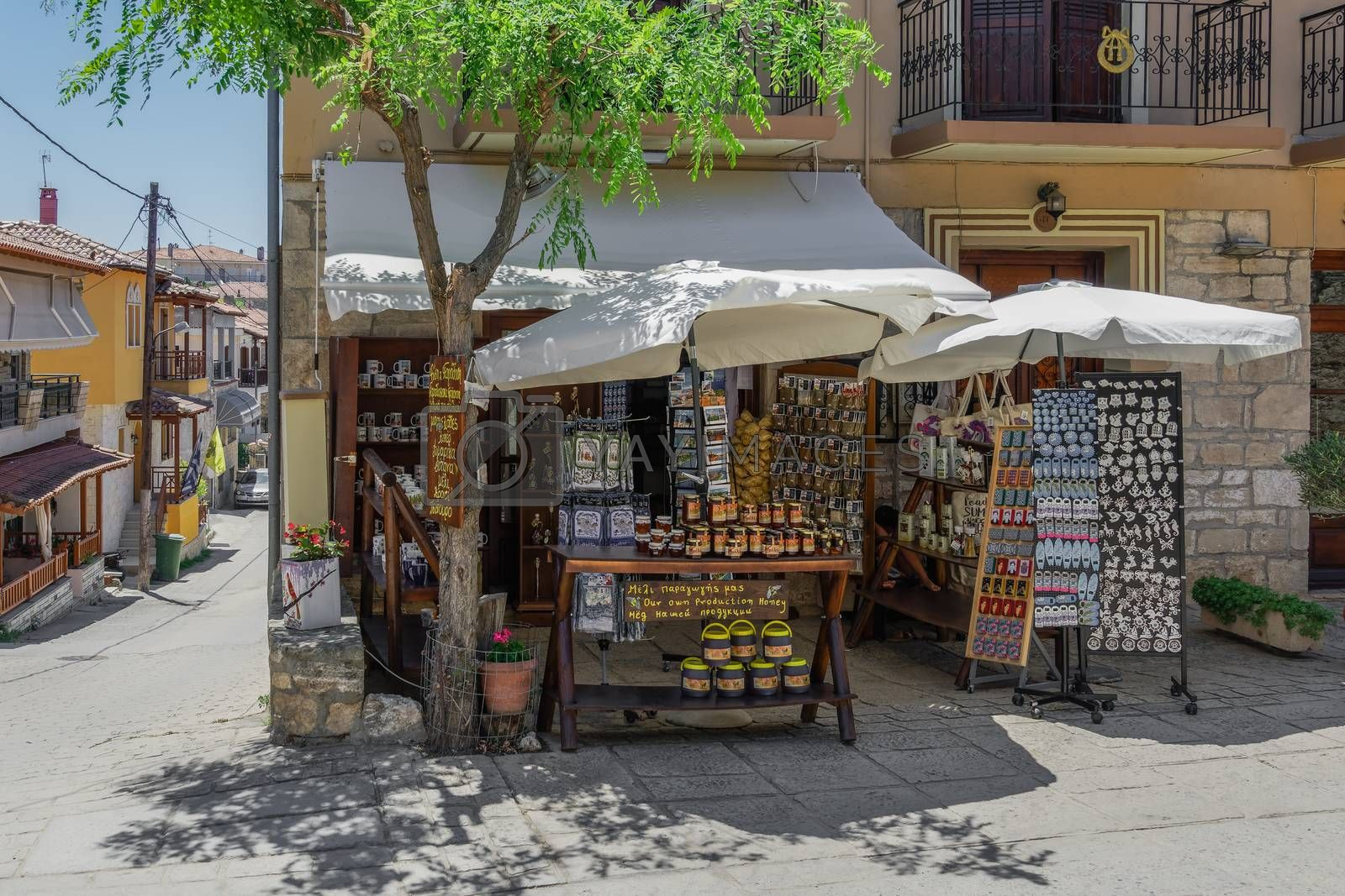 Day summer view of local gift shops without customers at Athytos village, Kassandra peninsula.