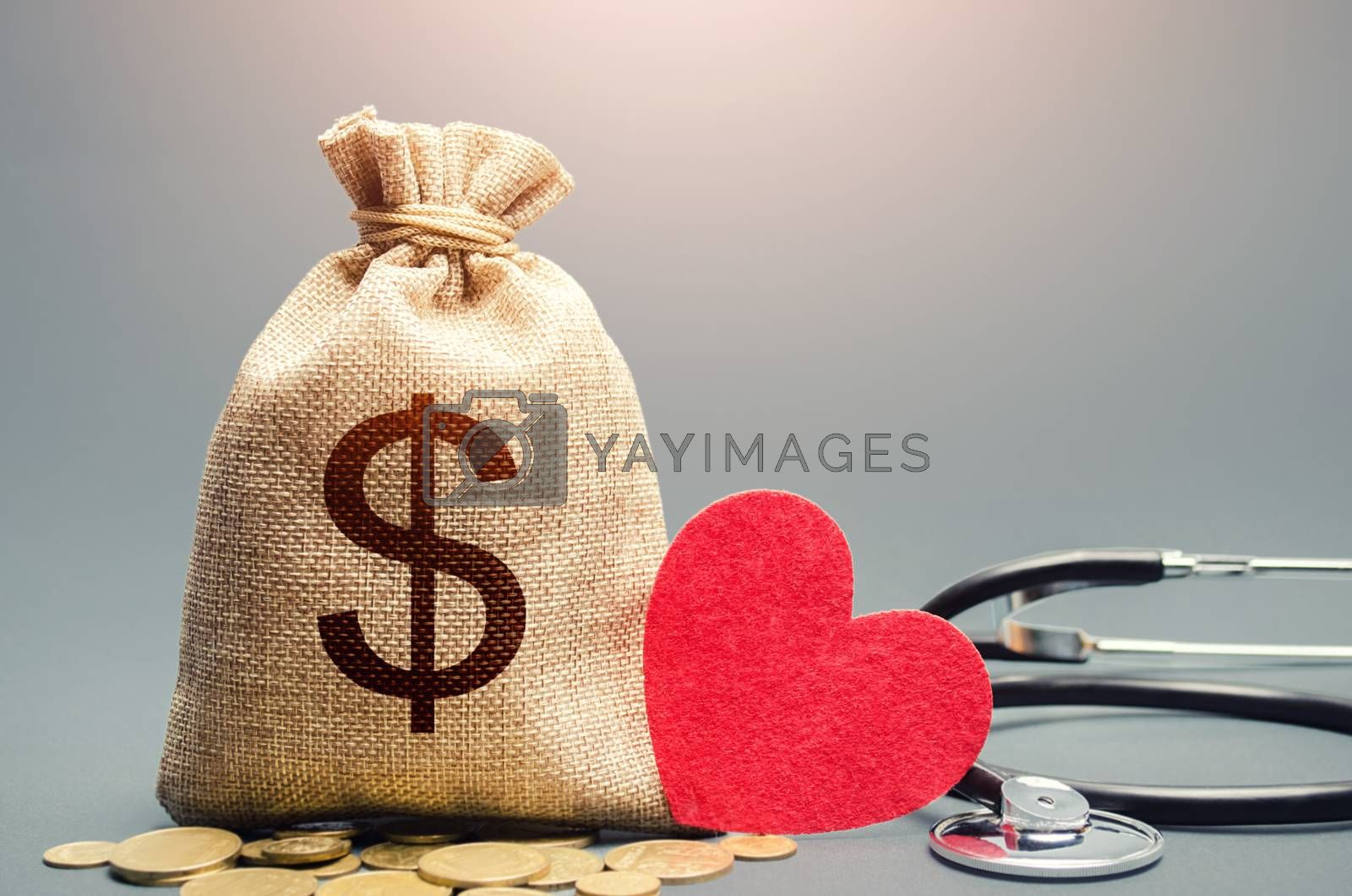 Dollar money bag and stethoscope. Health life insurance and financing concept. Funding healthcare system. Reforming and preparing for new challenges. Development, modernization. Subsidies, investments