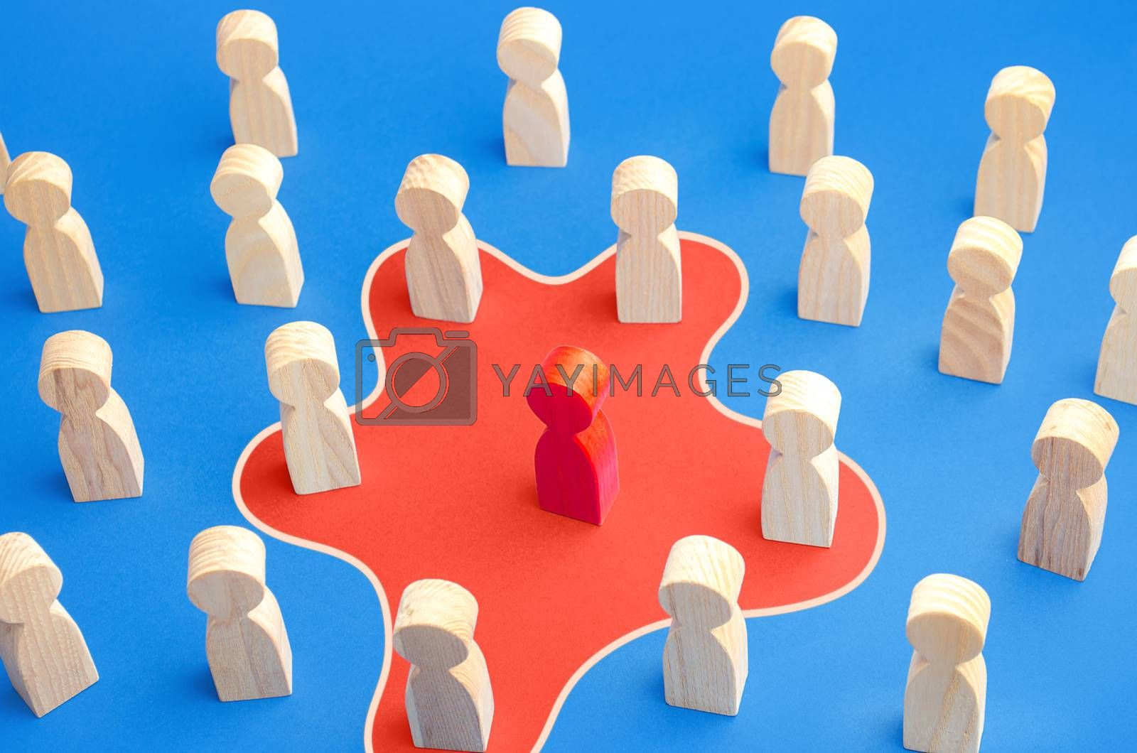 Red man spreads his influence over people around him. Unite people on a new idea. Collaboration, cooperation. Recruiting followers. Influencer manipulator, intriguer. Toxic worker