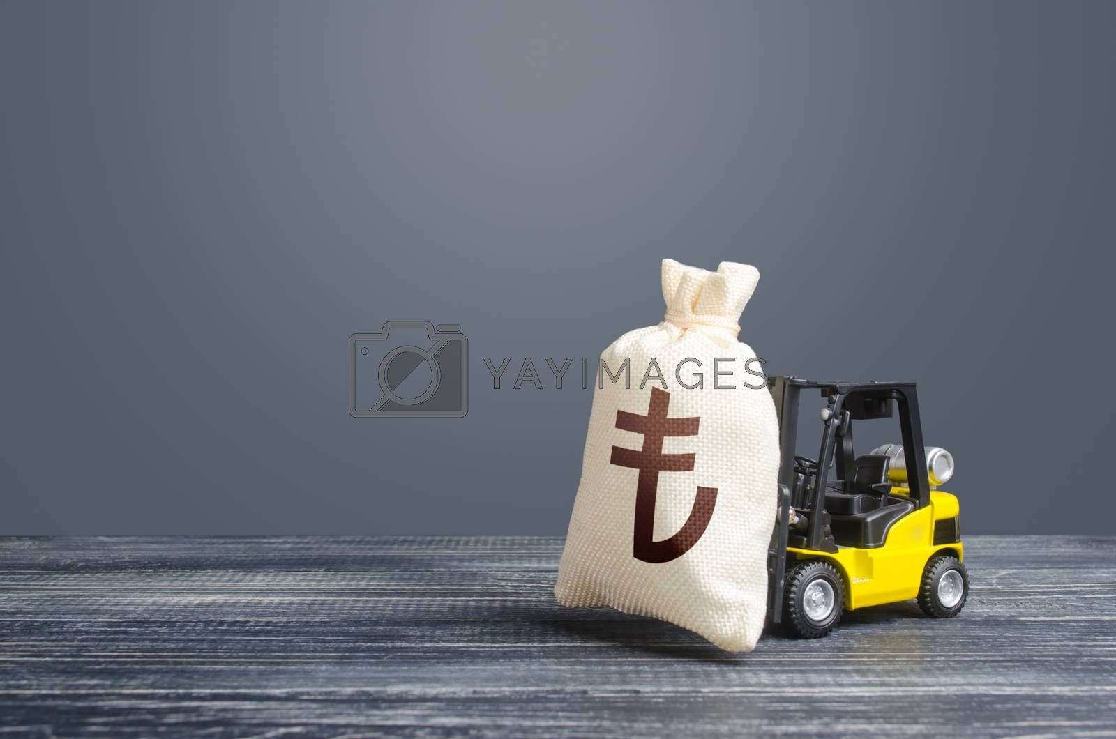 Forklift transports a turkish lira money bag. Attraction of large investments in business and economy, cheap loans, leasing. Borrowing on capital market. Stimulating economy. Crisis recovery measures