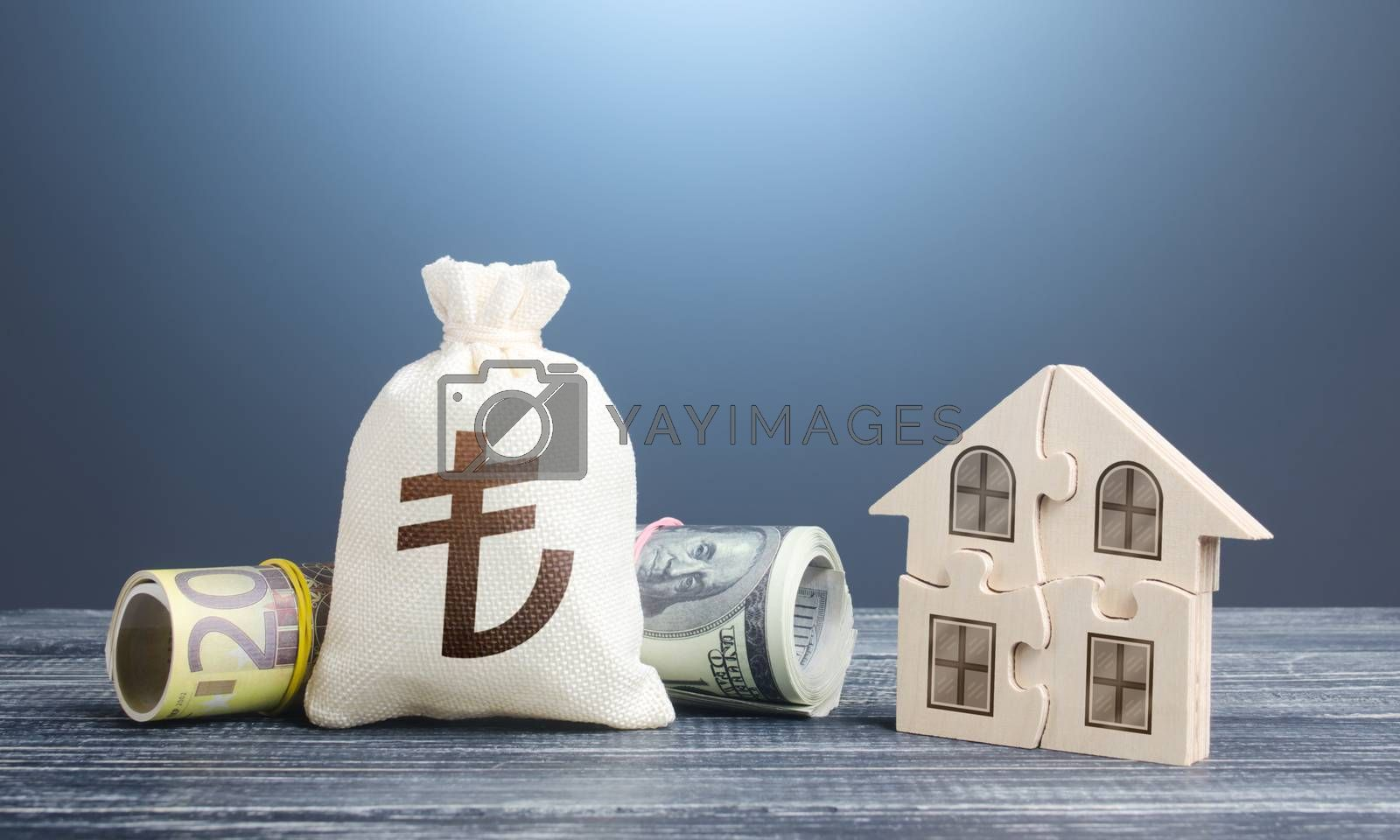Turkish lira money bag and puzzle house. Mortgage loan on purchase, building maintenance and utility services costs. Property valuation. State social programs. Housing cooperative membership.