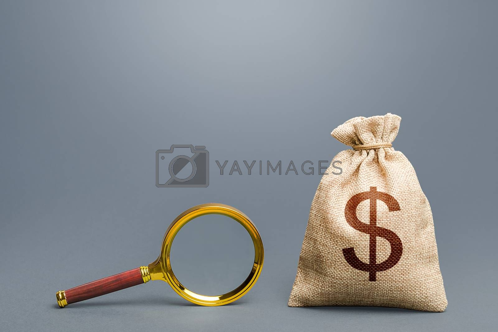 Dollar money bag and magnifying glass. Financial audit. Origin of capital and legality of funds. Search and attraction of financing. Find high-paying job. Most favorable conditions for deposits, loans