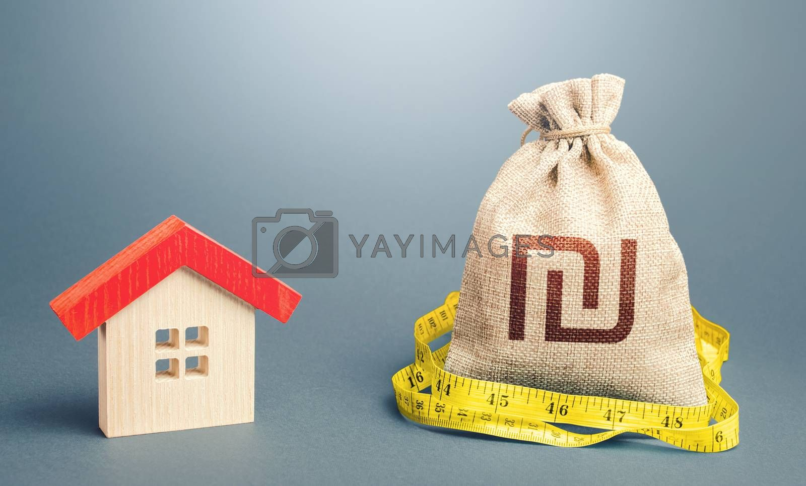 House and israeli shekel money bag. Buying and selling, fair price. Building maintenance. Calculation of expenses for purchase, construction and repair. Mortgage loan. Property real estate valuation.