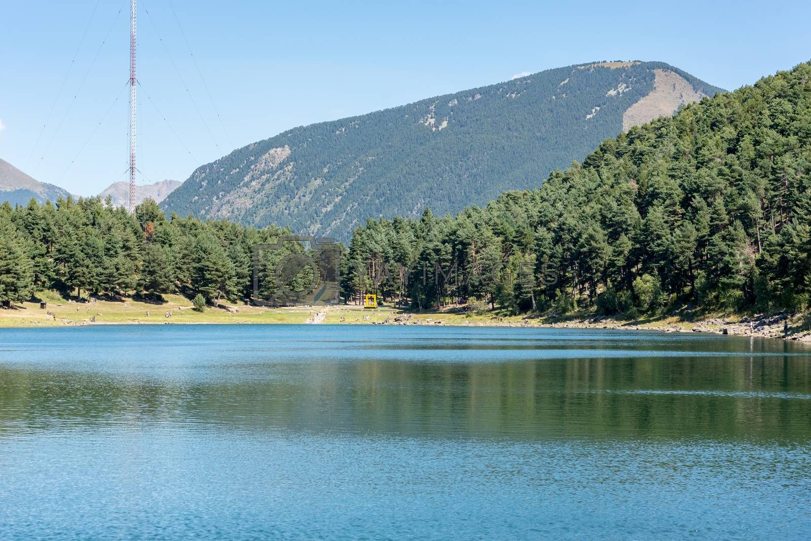 Summer afternoon at Lake Engolasters in the Pyrenees. Escaldes Engordany, Andorra.