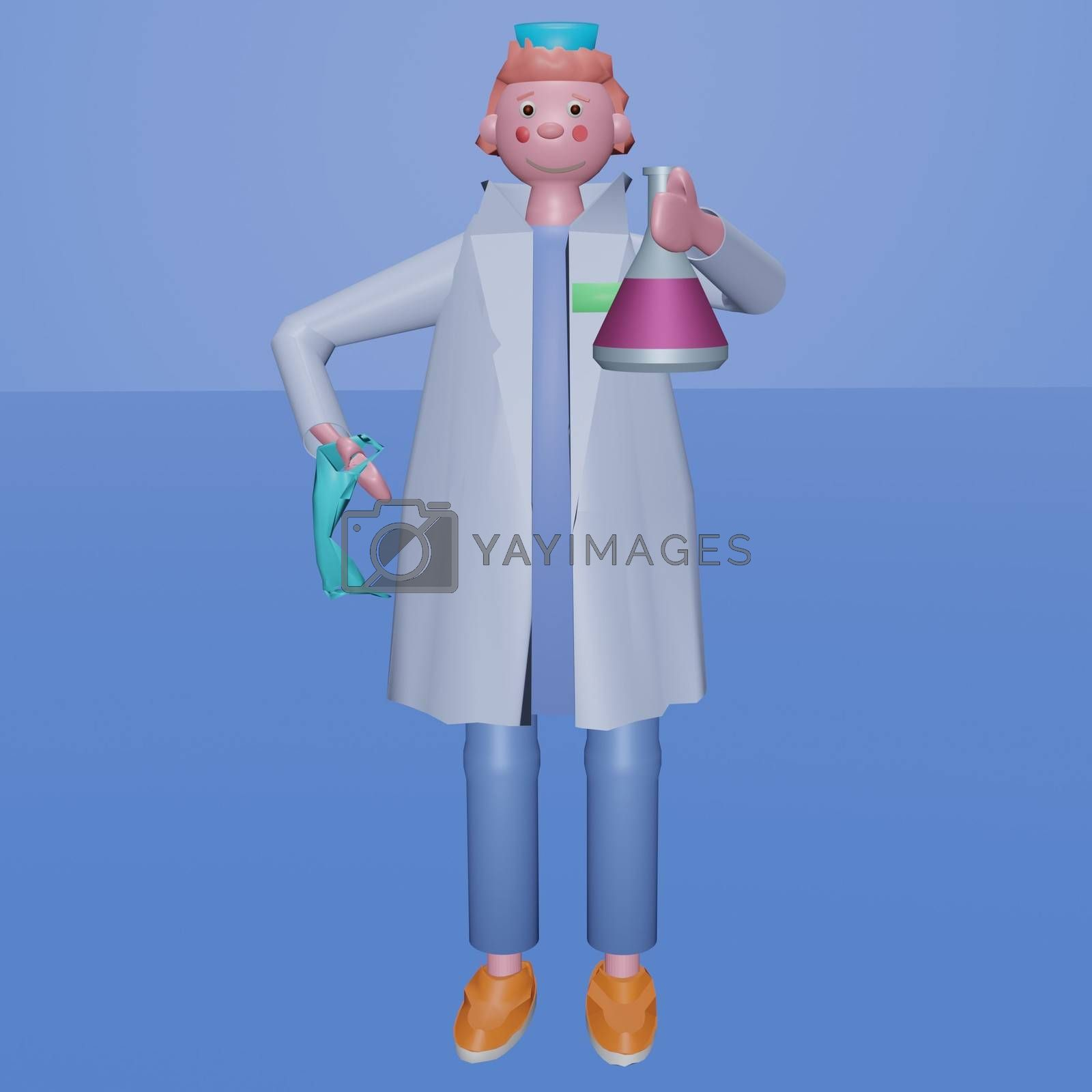 Medical scientist with a medical mask holding a glass test tube with liquid medicine or vaccine for the virus. 3D render illustration, volumetric image