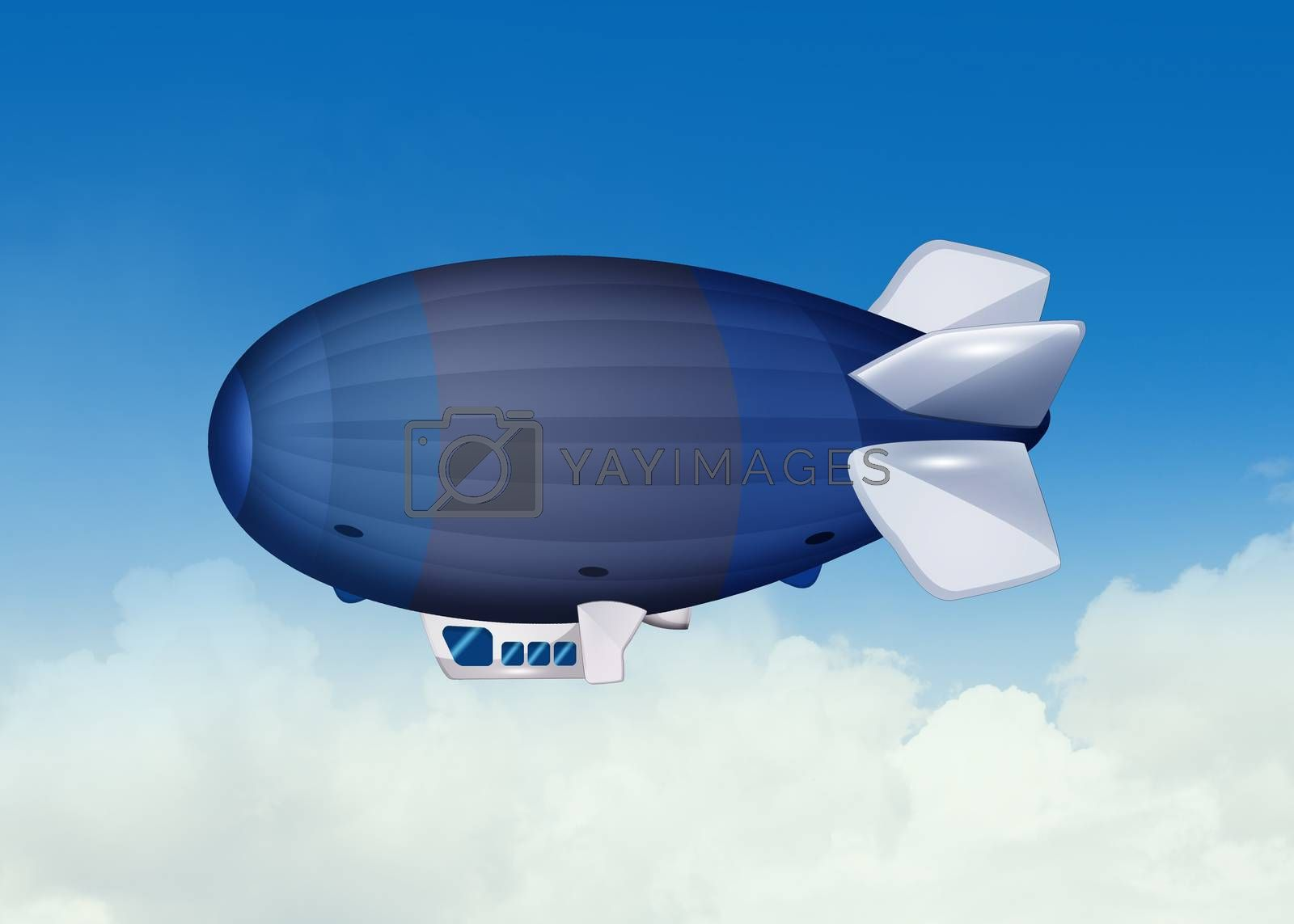 illustration of airship in the sky