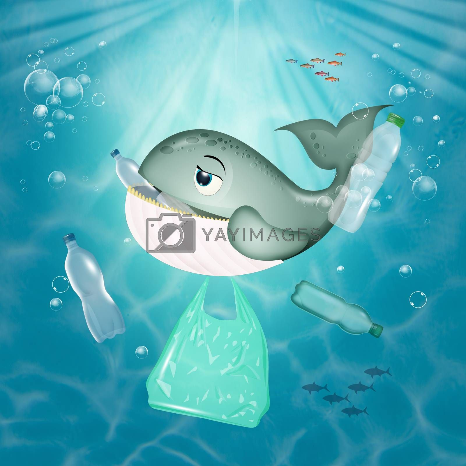 illustration of whale eats plastic in the sea