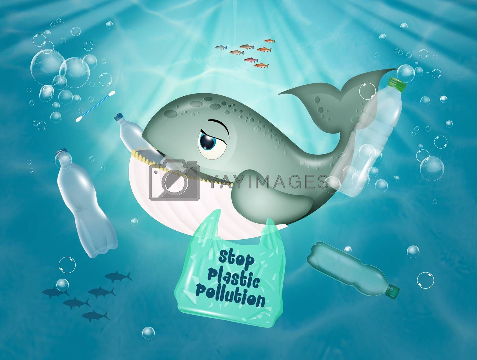 illustration of whale in danger because it eats plastic in the sea