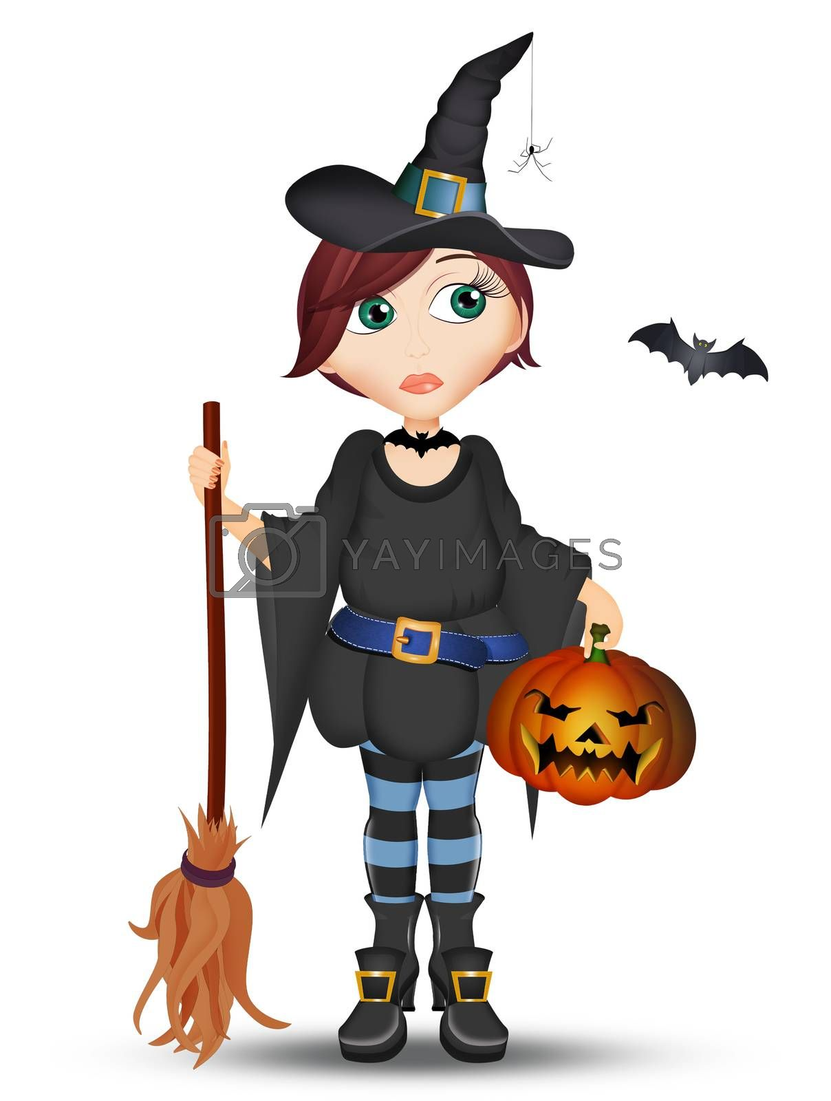 illustration of Halloween witch by adrenalina