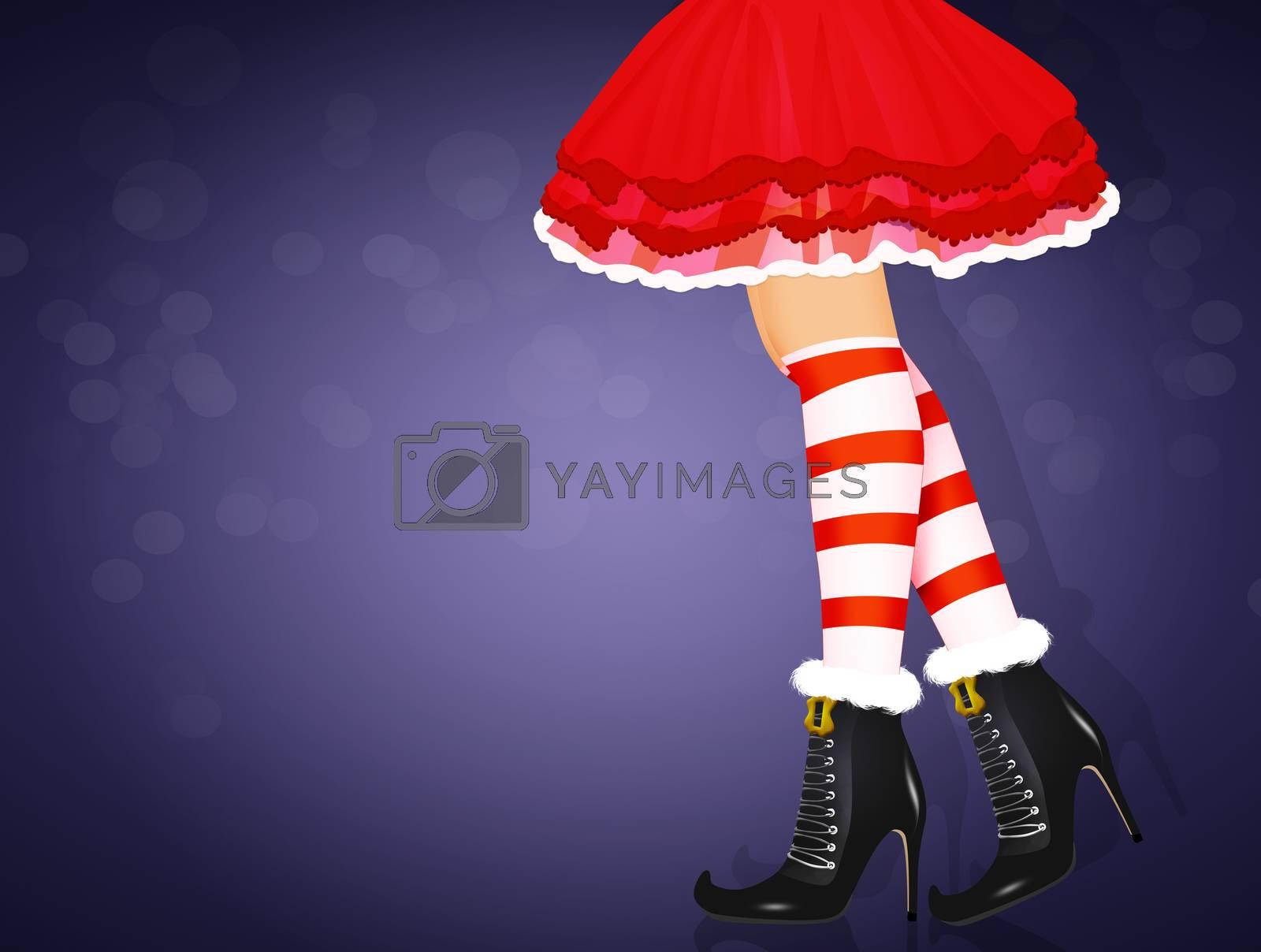 illustration of legs of Santa Claus girl close up
