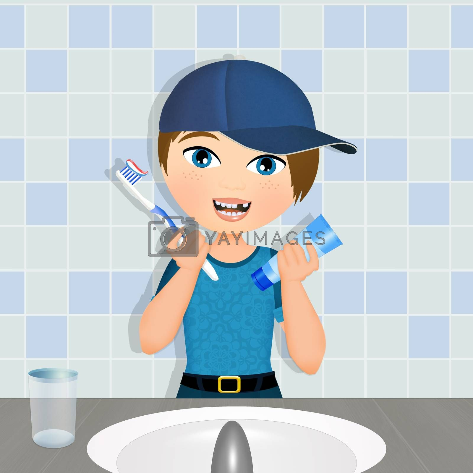 illustration of child brushes his teeth