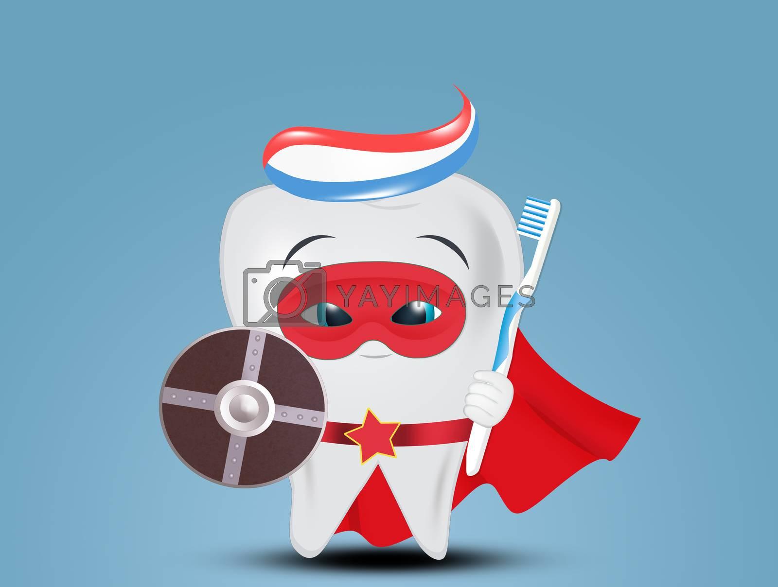 illustration of superhero tooth