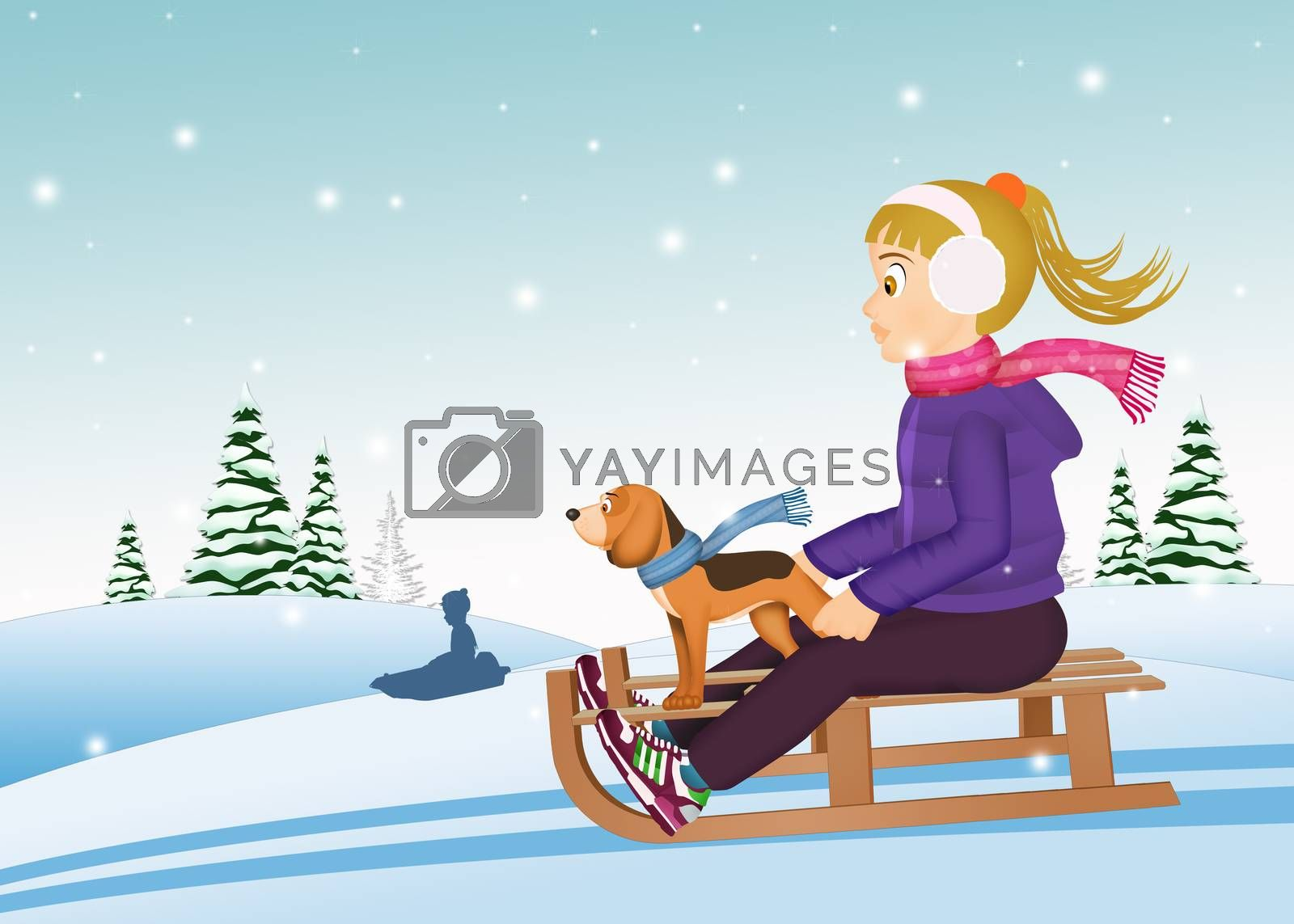 illustration of little girl on sleigh with puppy