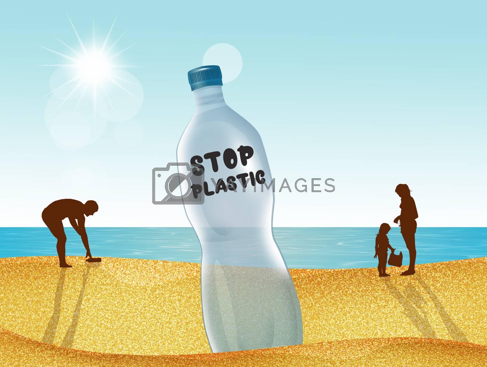illustration of stop plastic