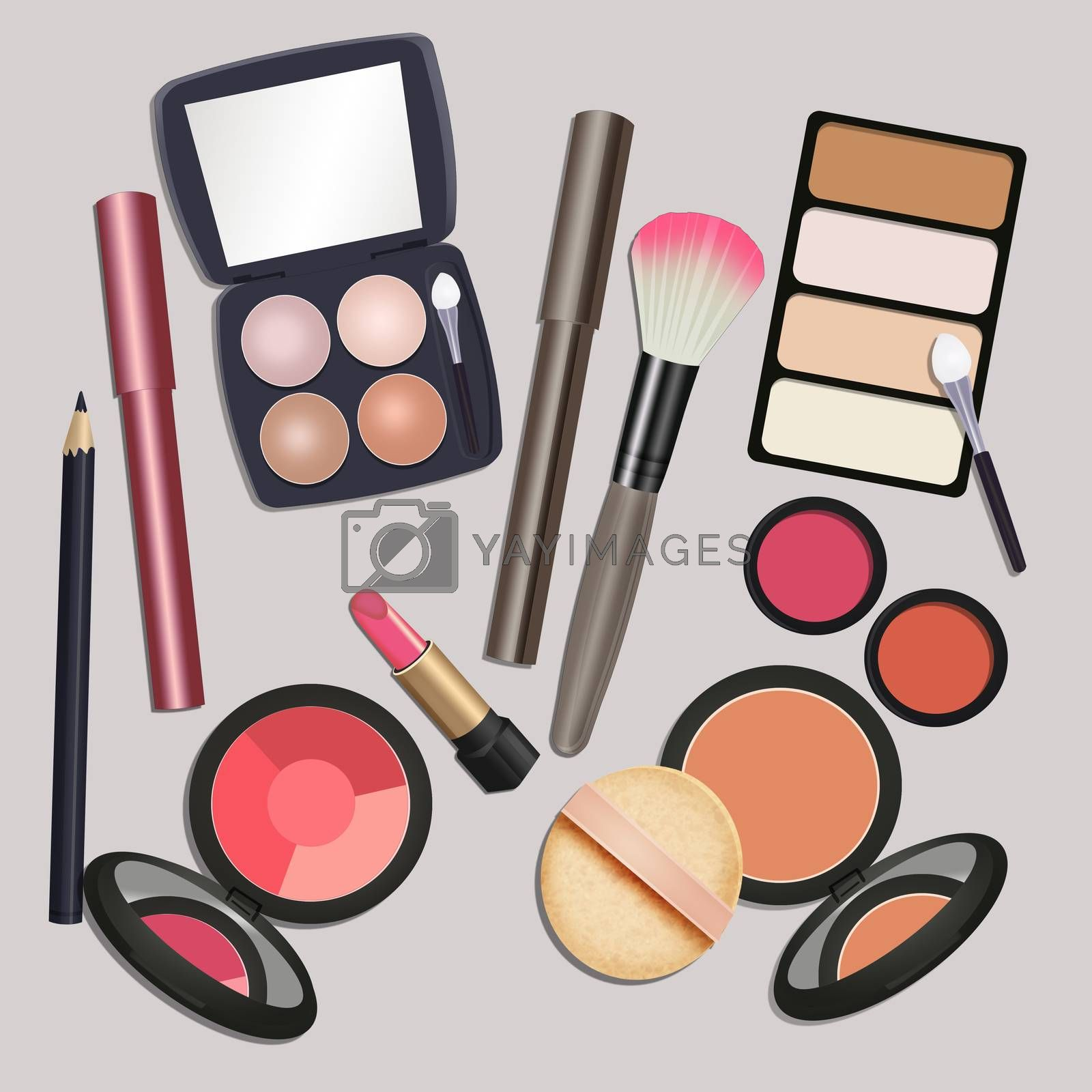 illustration of makeup view from above
