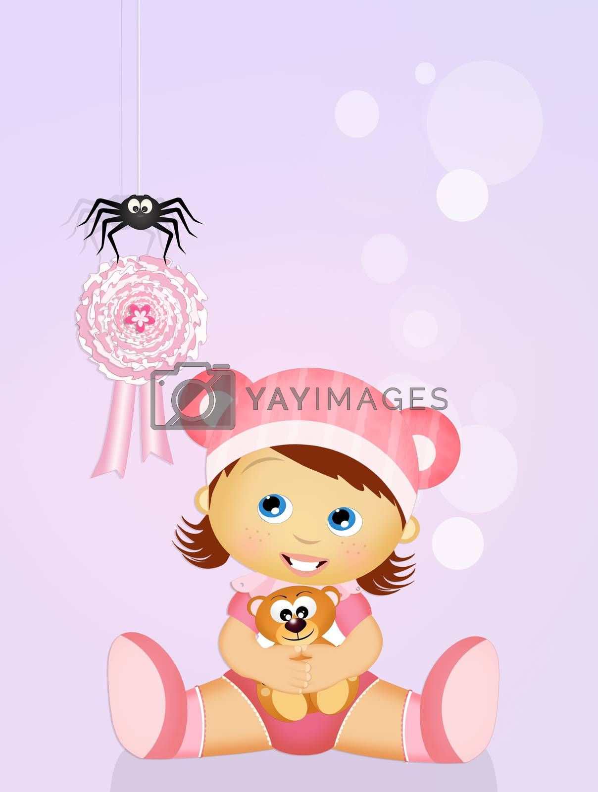 illustration of pink ribbon for baby female
