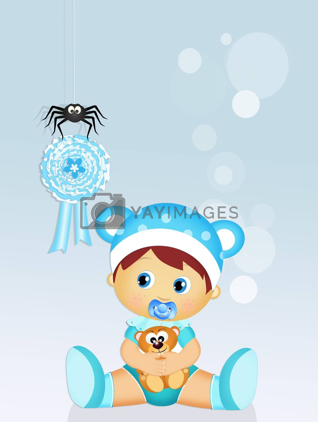 illustration of blue ribbon for baby male
