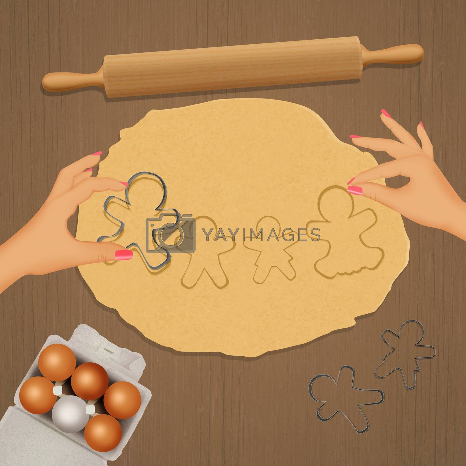 illustration of Gingerbread cookies in the shape of a family
