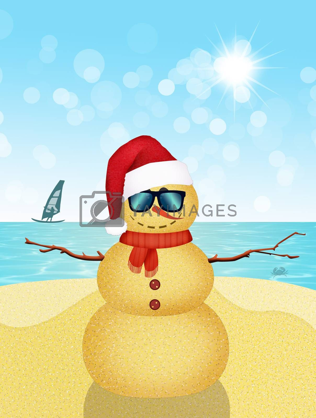 illustration of Christmas holidays at the seaside