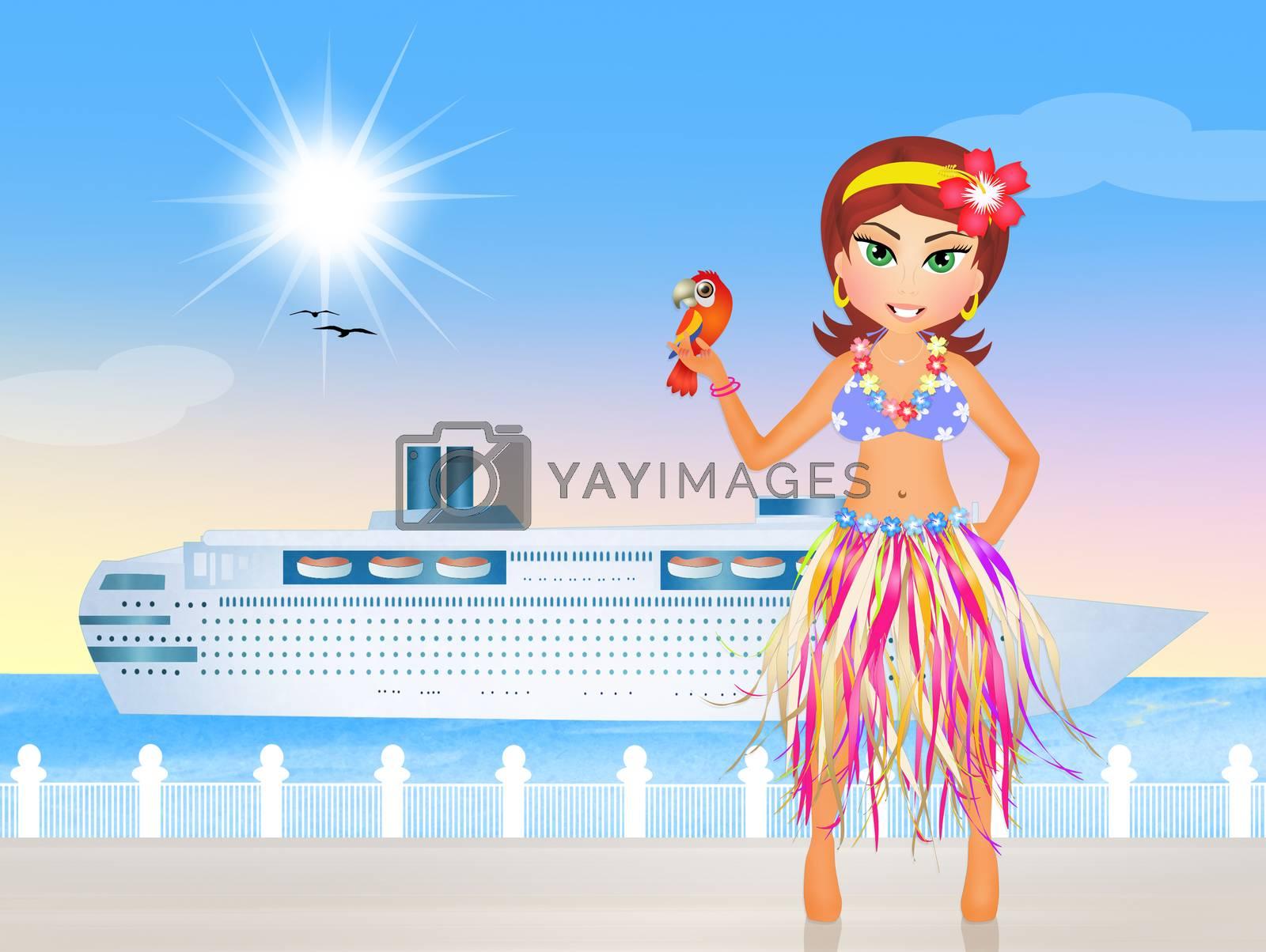 illustration of Hawaiian girls on the beach