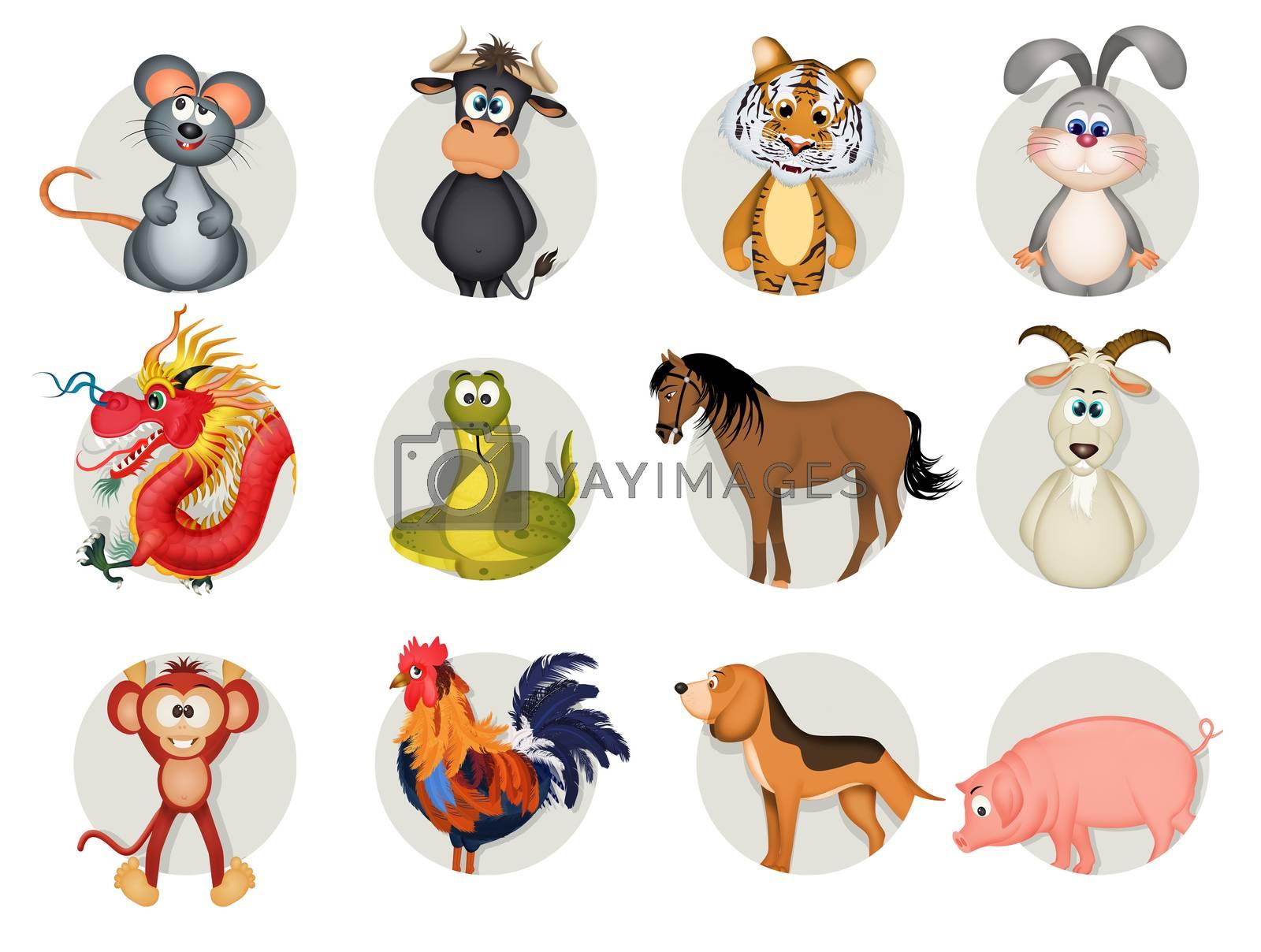 funny illustration of Chinese horoscope
