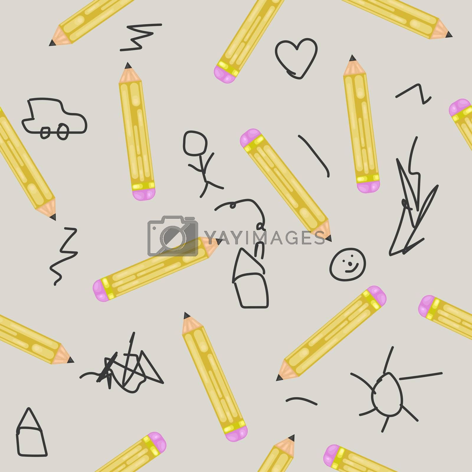 seamless pattern of pencils and doodles. for packaging, prints.