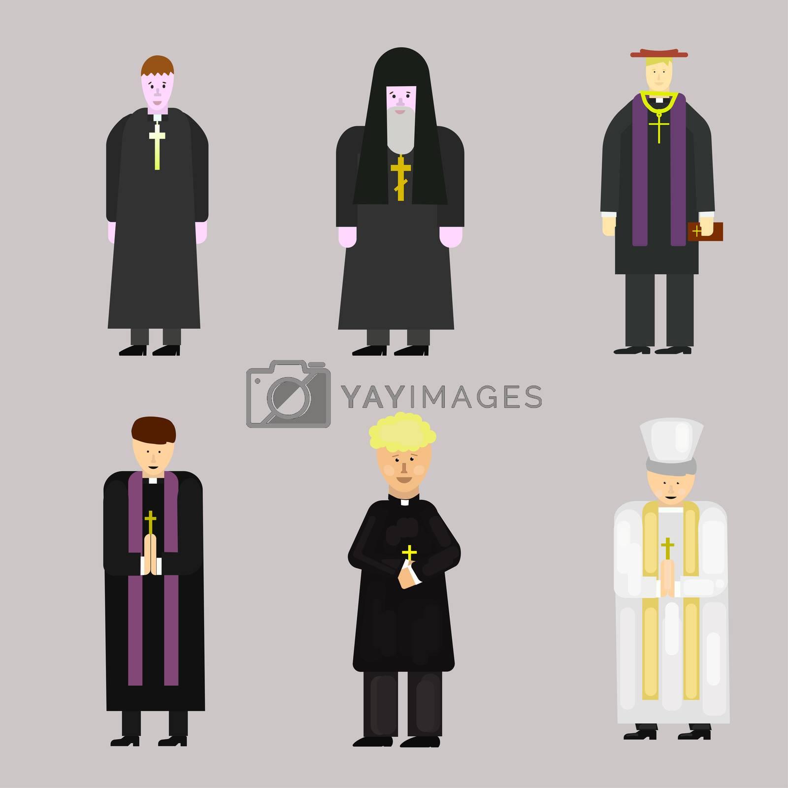 Set of Catholic Christian Staff, Priest Man in Uniform Holding Cross, Bible and Gospel, Bless Parishioners. Religion
